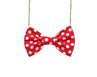 Red Polka Dot Retro - Bow Tie Necklace, Red Polka Dots Bowtie for Women, Party Favors, Bridesmaids Gift