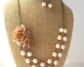 Set of 4 Beige Necklace Floral Statement Necklace Beige Wedding Jewelry Rustic Wedding Bridesmaid Jewelry Set