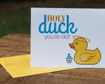 Holy Duck Birthday Card, Happy, Cupcake, Halo