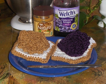 Crochet Toy Food Peanut Butter and Grape Jelly PB & J Sandwich with White Bread. Kid's Play House Kitchen accessory Baby Toddler Kitchen toy