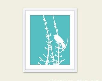 Spring Bird on Tree Digital Print - Aqua Blue and White - Bird Wall Art  Spring Home Decor - Modern Bird Woodland Branches - Bird on Twig