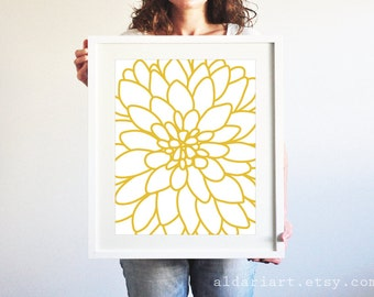 Dahlia Wall Art - Dahlia Print Flower Print Mustard Yellow Flower Wall Art Modern Decor Custom Color Aldari Art