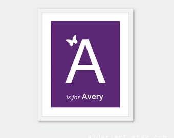 Custom Name and Letter Art Print With Butterfly - Baby Girl Initial Art Print - Nursery Wall Art - Purple and White - Newborn Baby Art
