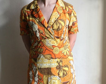 Psychedelic Sunshine Dress - 70ies hippie dress in Orange and Yellow size Large