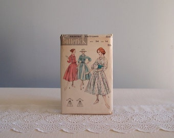 50s dress pattern / Butterick 8190 full skirt shirtwaist bishop sleeve dress ...printed pattern complete sz 34/14