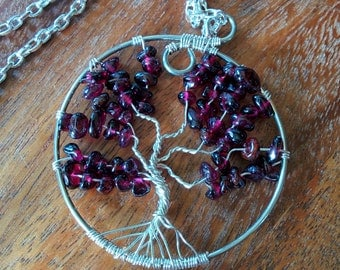 Garnet and Silver Plate Tree of Life Pendant (with chain)