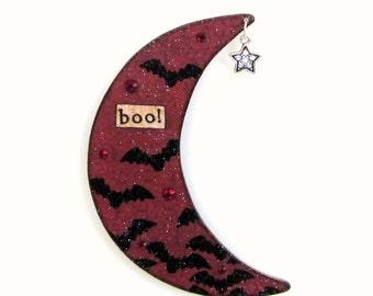 Halloween Decor Crescent Moon Magnet Halloween Fridge Refigerator Magnet Decoupaged Deep Red Black Bats Goth Decor