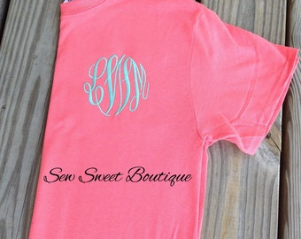 Back to School Super SALE Monogram Shirt embroidered monogrammed tshirt birthday bridesmaid gift