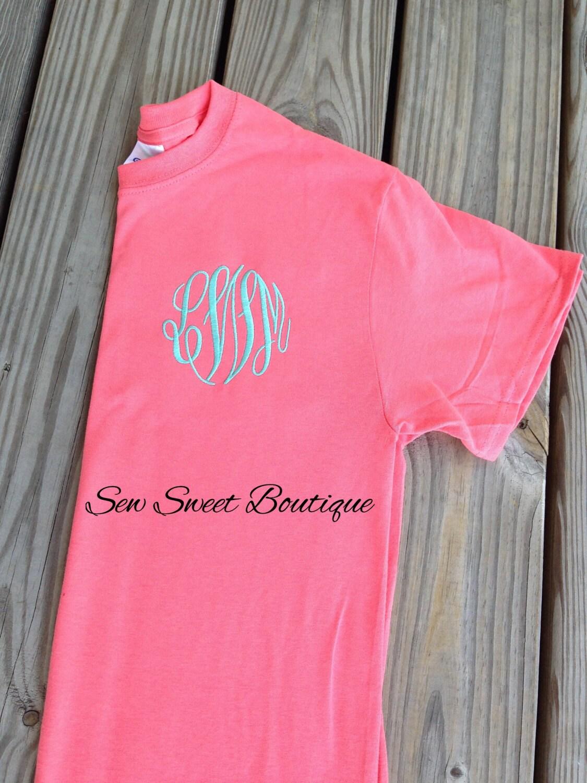Monogram shirt embroidered monogrammed tshirt birthday