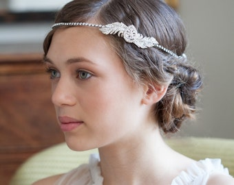 1920s Wedding Headpiece -  Downton Abbey Style -  Great Gasby Headpiece - 1930s Bridal Accessory -  Art Deco Wedding Hair Accessory