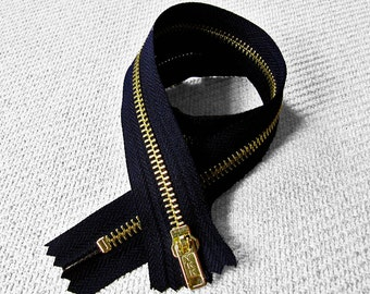 22inch - Black Metal Zipper - Gold Teeth - 5pcs