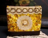 Handmade  Zipper Pouch, Vintage Cotton Fabric, Lace Trims and Button, Faux Leather, Lined, Beaded Zipper Pull