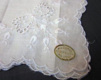 Vintage Hanky, Handkerchief, Fine Ivory Cotton, Embroidered Flowers and Bow, Scalloped Edge, Wedding, Made in Austria