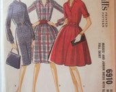 Juniors Vintage Sewing Pattern - Front Buttoned Dress With Slim or Full Skirt - McCall's 6910 - Size 13, Bust 33