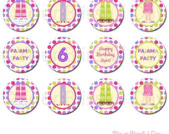 PRINTABLE Girl Pajama Party Circles (Personalized) #563
