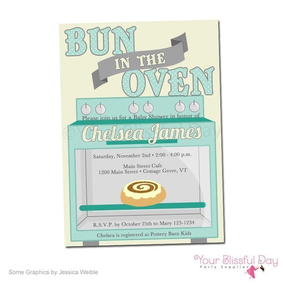 printable bun in the oven baby shower party invitation 202