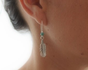 Dangle silver Feather earrings with a turquoise bead Boho chic Ethnic Gypsy Native american Handcrafted