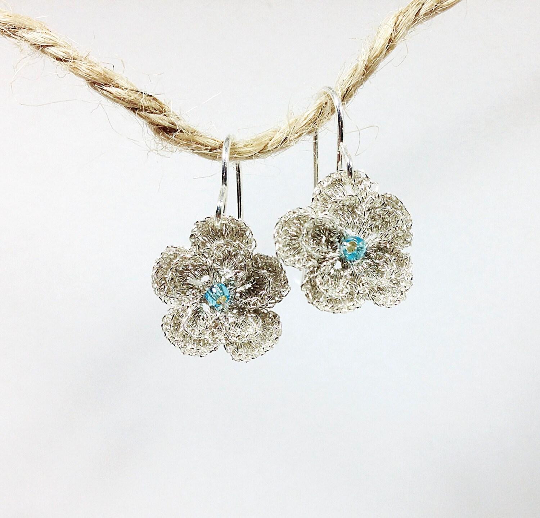 Crochet Hook Earrings: I Love Sparkle Crochet & Bead Fish Hook Earring Sterling