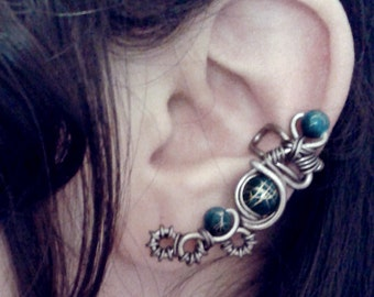 Blue Evil Eye Ear Cuff