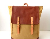 Backpack No.5 -- Khaki Tan Water Resistant Canvas with Leather