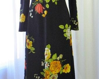Designer Boho Maxi Vintage Dress Old Stock/New/Unworn Paper Tag Circa 1960s Size 10