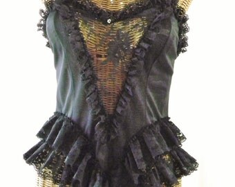 ON SALE Frederick's Of Hollywood Femme Fatale Charm Black Sheer Lace Bodice V Drape Front Double Lace Hip New Unworn Vintage