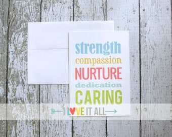 Friendship Greeting Card . Teacher Health Care Giver Caregiver Doctor Nurse Nursing Mother of the Bride . Caring Compassion Nurture Strength