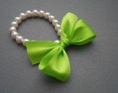 Pearl Bracelet In White Swarovski Crystal Pearls With Dark Lime Green Satin Ribbon
