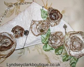 SALE item. Unique shabby chic alternative steampunk bridal evening clutch bag purse with fabric flowers