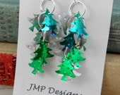 NEW Christmas Tree Earrings.  Recycled Soda Can Art.  Sprite Green