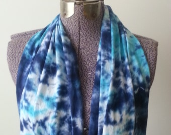 Tie Dye Infinity Scarf -- Navy and Parakeet Blue Scrunch