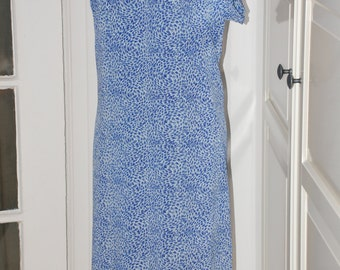 50s 60s Dress, Shift, Blue and White, Starry Night Print, Neck Tie,  Button Detail, Large