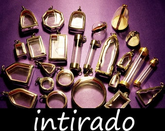 Terrarium Necklace Pendants, Wholesale Shadow Boxes, Diorama, Lockets, Living Plant Jewelry, Locket Case, Reliquary, Etched, Marimo, 25pcs