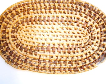 Straw Placemat, Oval, Vintage
