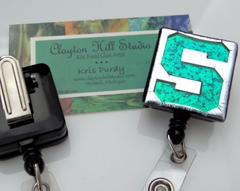 """Dichroic fused glass pendant or badge reel """"S"""""""