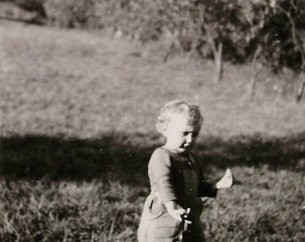 Vintage French Photo - Small Child in the Countryside
