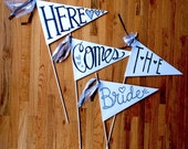 Here Comes The Bride * Handmade Wedding Banner * Set of 4 Signs * Accessory * Made to Order