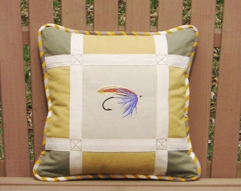 """Square Pillow The Fishing Flies No 2 Fishing Day Collection 14"""" x 14"""" Khaki Yellow Greige Chic Lodge decor Cabin Sport nature Chalet Unique"""