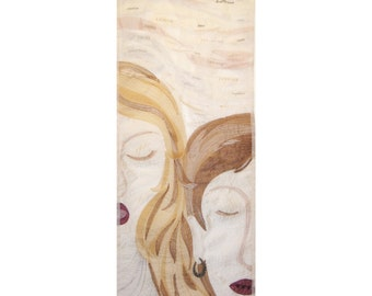"Textile art  ""Spoken words, Silent words"" - Quilt - Wall hanging - 12"" x 30"" -  quilting art - words - communication - ivory - gold - beige"