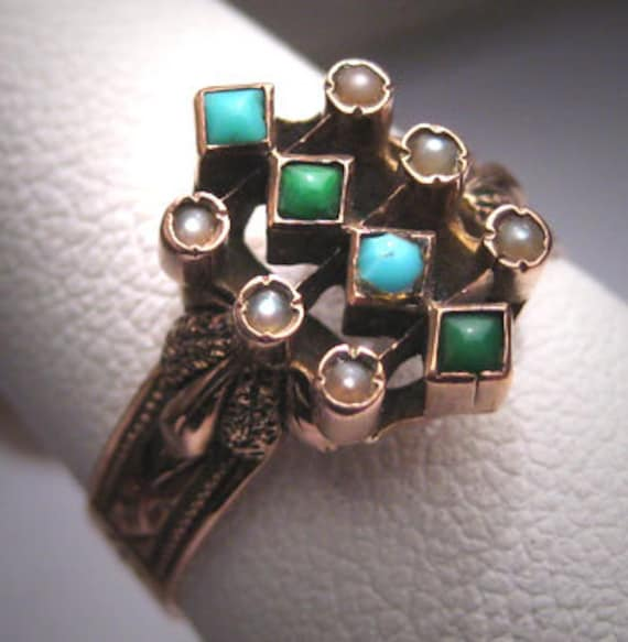 Antique Victorian Turquoise Pearl Ring Rose Gold 1800s Wedding