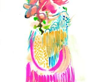 "Original Surreal Gouache Figure Artwork, Unique Original Home Decor Fashion Painting, 9"" x 12"" - A07"