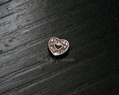 Pink Rhinestone Heart Floating Charm / Pink Heart Locket Charm / Memory Locket Charm