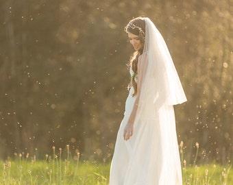Wedding Veil, Floor length Veil, Double Layer Chapel Veil,  Bridal Veil, Tulle Veil,