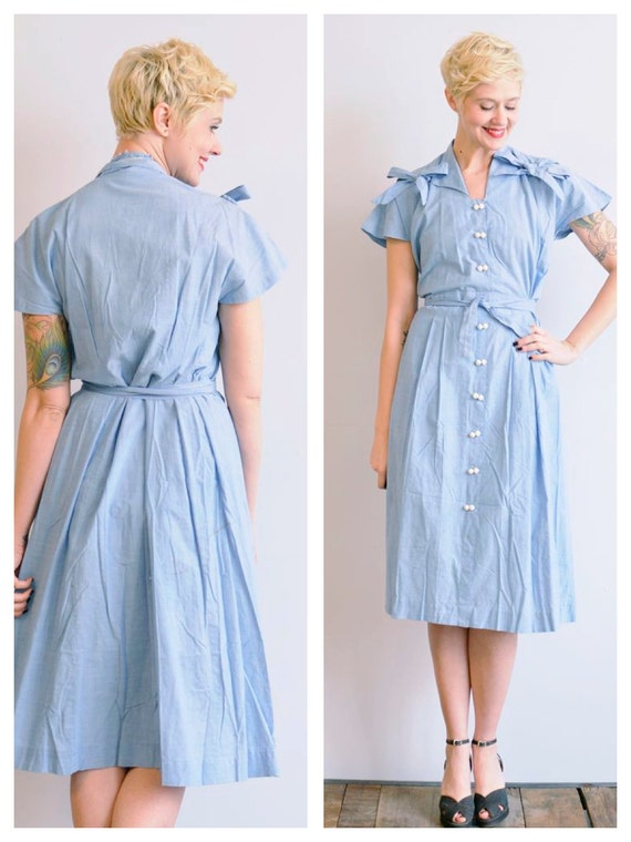 Dress // Chambray Maternity Dress // vintage 40s dress