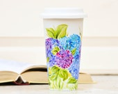 Personalized Ceramic Travel Mug - Made to Order Flower Eco-Cup - Pink, Green and White Coffee Cup - Romantic Mug with Lid