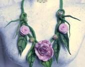 Pink rose flower necklace hand felted felt necklace