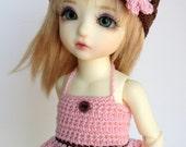 Crochet Dress Outfit for Yosd 1/6 BJD - Dress Hat Shorts