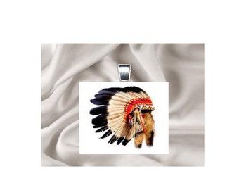 Pendant Necklace Native American Headress