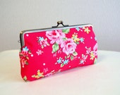 Retro floral frame pursein red / pencil case / iPhone iPod case / Glasses case - Handmade in Japan.  Retro.
