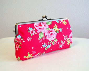 Retro floral frame pursein red / pencil case / iPhone iPod case / Glasses case - Handmade in Japan. Ready to ship. Retro.